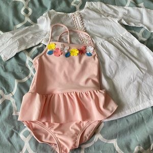 Baby girl bathing suit and cover up set